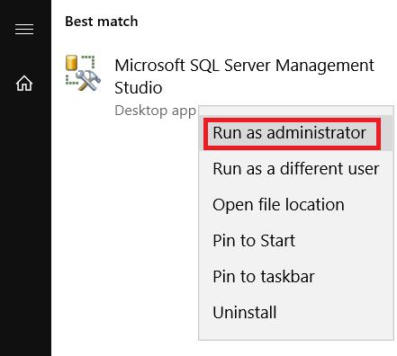 Sql Server Run as Admin