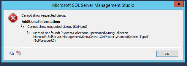 SQL Server Properties Error