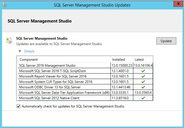 SSMS Update